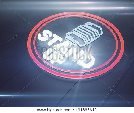 Close up of illuminated retro stand up microphone icon on dark background. Comic concept. 3D Rendering