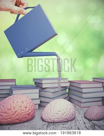 Abstract image of hand nourishing human brains with abstract book/watering can on green background. University concept. 3D Rendering