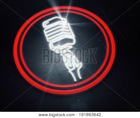 Close up of vintage illuminated microphone icon on wooden background. Performance concept. 3D Rendering