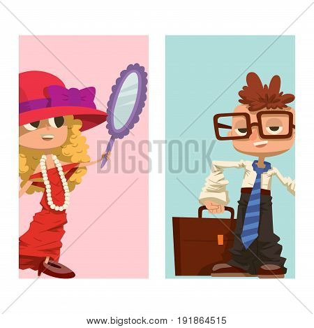 Happy boy and girl cards child smiling life portrait of young male dressed like grown man and woman character vector illustration. Cheerful kid casual emotion joy standing schoolboy expression.