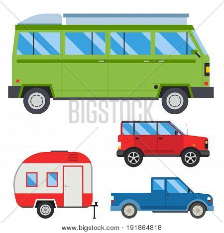 Campers vacation travel car summer nature holiday trailer house vector illustration flat transport. Classic caravan campsite automobile retro minivan camp vintage bus.