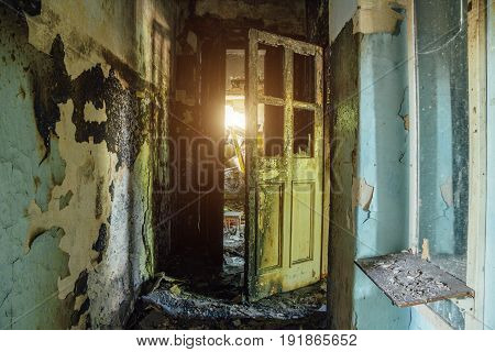 Corridor of the burnt house after the fire