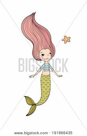 Beautiful little mermaid and fish. Siren. Sea theme.Hand drawn vector illustration on a white background. poster