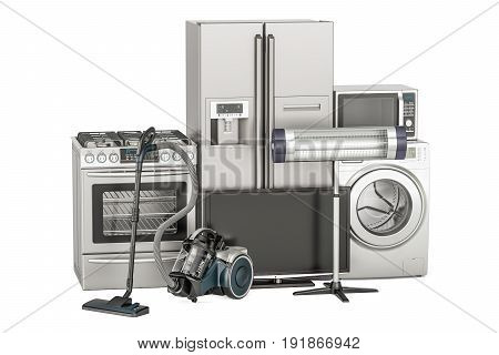 Set of household appliances. Washing machine fridge gas stove microwave oven tv set and vacuum cleaner. 3D rendering