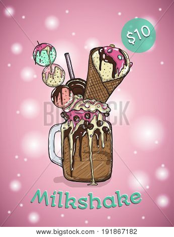 Monstershake In cartoon Style. Crazy Milkshake with cookies chocolate sweets ice cream and candys. Hand Drawn Creative Dessert. Vector illustration.