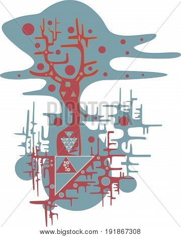 Vector illustration of an alien creature from distant worlds. Abstract aliens.
