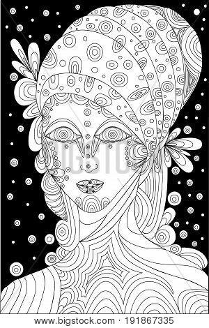 Vector black and whiteshaman girl coloring page