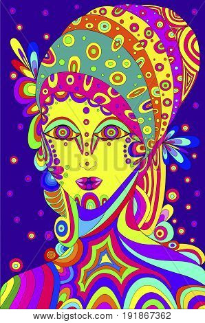 Vector illustration. Beautiful girl on a violet background stylized in a hippy style patterns lines scribble zentangles. Bright saturated colors psychedelic motif.