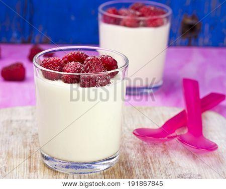 Italian panna cotta dessert with fresh raspberries