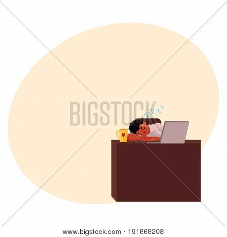 Black, African American businessman, manager sleeping at office desk, on workplace, cartoon vector illustration with space for text. Black businessman, worker, employee sleeping in office