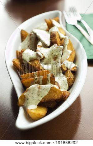 Patatas braves tapas with garlic aioli sauce