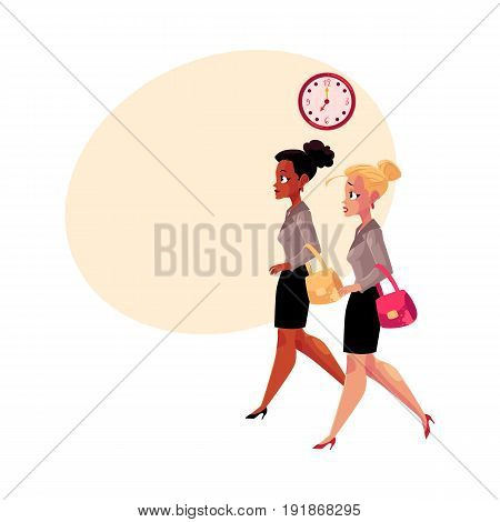 Young businesswomen, black and Caucasian, hurrying to work in morning, cartoon vector illustration with space for text. Black and Caucasian businesswomen hurrying to work, clock showing time