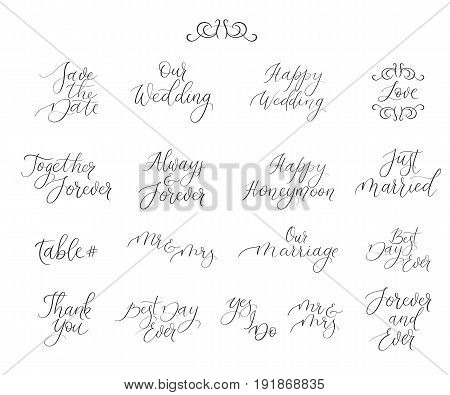 Handwritten Set For Design Wedding Invitations, Photo Overlays, Cards. Calligraphy
