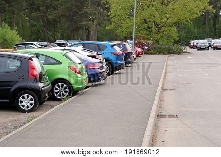 Wisley, Surrey, Uk - April 30 2017: Car Park Or Parking Lot With Colorful Different Coloured Cars, T