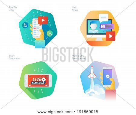 Material design icons set for live streaming, mobile broadcasting, pay per view, online video, news. UI/UX kit for web design, applications, mobile interface, infographics and print design.