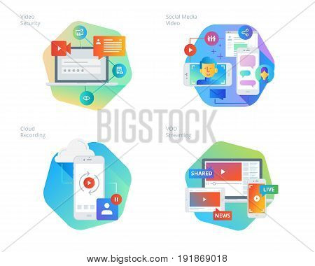 Material design icons set for social network, cloud recording, VOD streaming, video security, online video streaming. UI/UX kit for web design, applications, mobile interface, infographics and print design.
