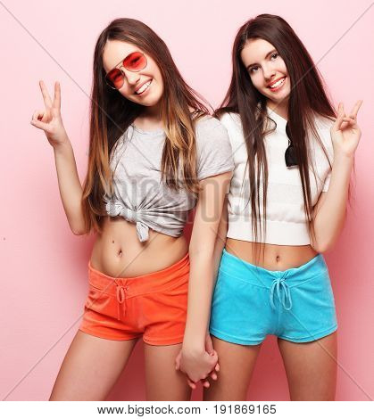 emotions, people, teens and friendship concept - two young teen