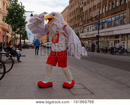 Lodz, Poland - June 13, 2017 Eagle, mascot of the Polish national team in volleyball on Piotrkowska Street in Lodz.
