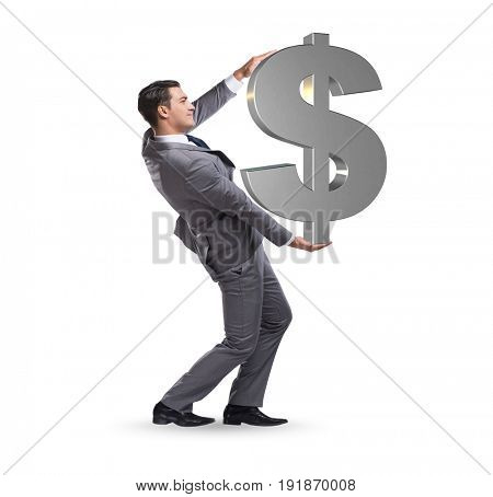 Businessman carrying dollar sign isolated on white