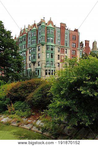 Old ornate castle like apartment building along Commonwealth Avenue in Boston, Massachusetts