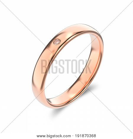 3D illustration isolated classic rose gold ring with a diamond and shadow on a white background