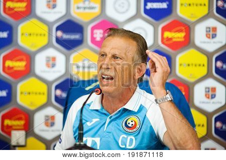 CLUJ-NAPOCA, ROMANIA, 12 June 2017: Christoph Daum, Romanian national football team head coach speaks at a press conference before a friendly match Romania v Chile