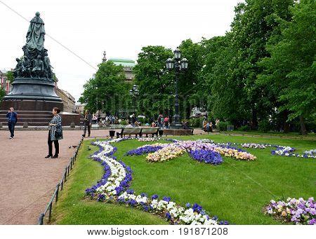 Ekaterininsky garden in St. Petersburg. Monument to the Russian Empress.  Photo taken in St. Petersburg on June 12, 2017