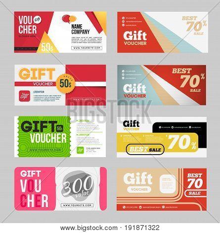 Gift voucher certificate coupon design template set.
