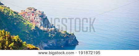 Stunning view of the beautiful and cozy village of Corniglia in the Cinque Terre Reserve