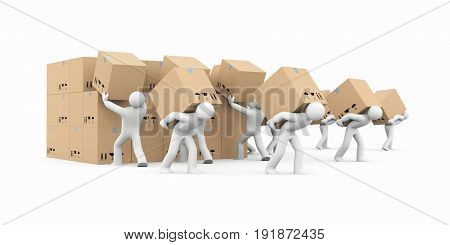 People unload a bunch of boxes. Parcel delivery. 3d illustration poster