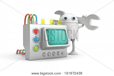 Robot mechanic with device. 3d illustration