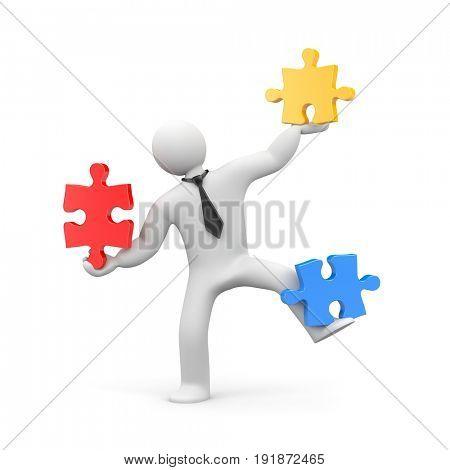Business man assembling jigsaw puzzle. 3d illustration