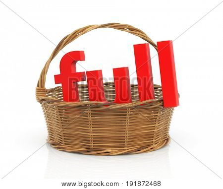 Red word Full in the basket. 3d illustration