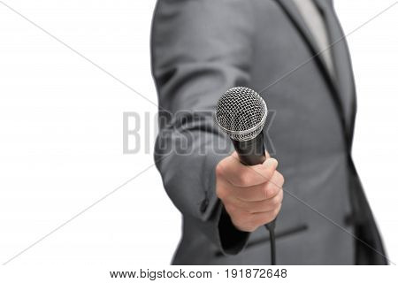 Interviewer Or Reporter With Microphone In Hand, Mic