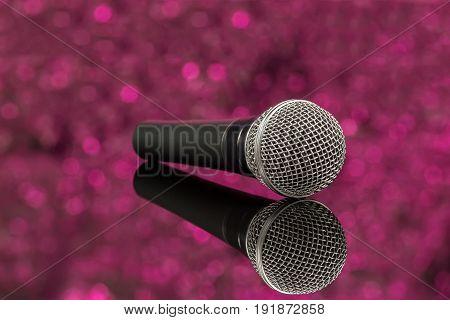 Microphone In Defocus Pink Background