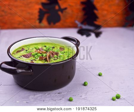 Halloween witches brew pea soup with bacon
