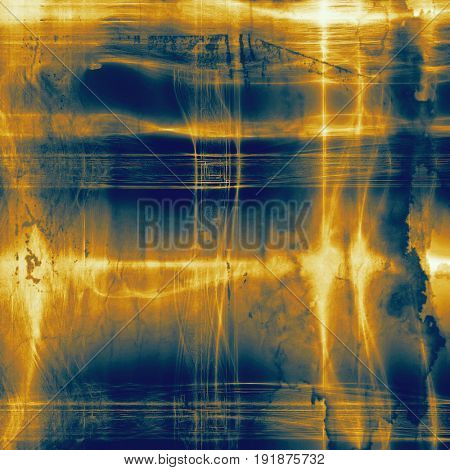 Grunge retro texture, aged background with vintage style elements and different color patterns: yellow (beige); brown; blue; white; cyan
