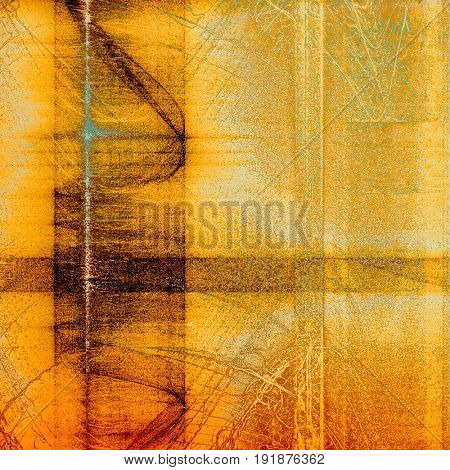 Vintage style shabby texture or background with classy grungy elements and different color patterns: yellow (beige); brown; blue; red (orange)