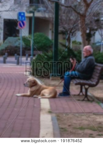 Blured view of old man with dog and smartphone on the bench at small park