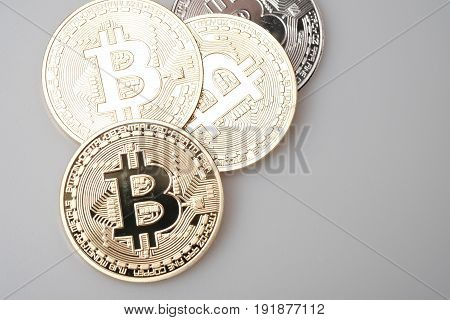 Golden bitcoin cryptocurency isolated on white background