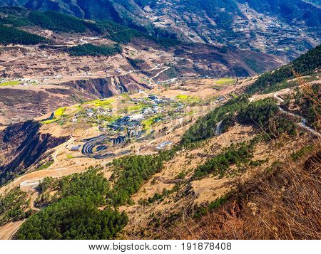 View of high land agricultural village in China