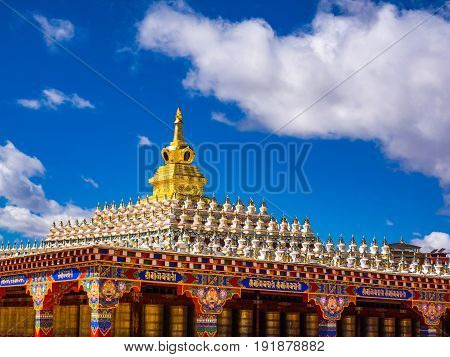 Sichuan China - April 10 2017 : View of beautiful stupas at main hall in Yarchen Gar Monastery in Sichuan China.