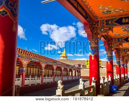 Sichuan China - April 10 2017 : View of tibetan buddhist Yarchen Gar Monastery in Sichuan China.