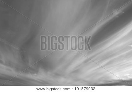Dramatic loudy overcast sky. Beautiful unusual clouds over horizon cloudscape.