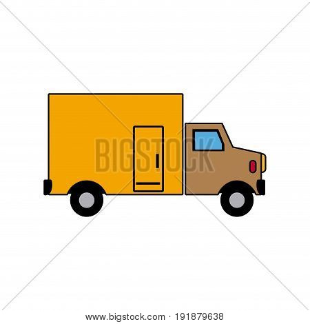 modern urban vehicle cargo delivery truck vector illustration