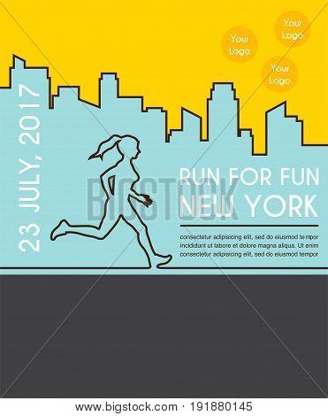 Running marathon, colorful poster design . vector illustration