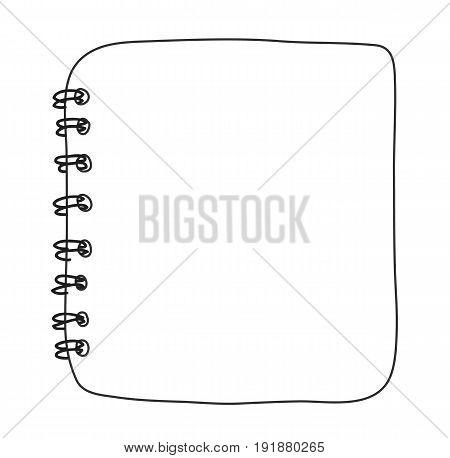 notebook top view hand drawn line art vector art illustration