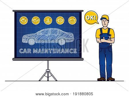 Serviceman with car maintenance chart board vector illustration. Car technical service concept with warning signs: check engine oil pressure generator coolant level brake system. poster