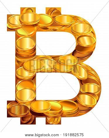 Bitcoin symbol virtual money. Isolated on white icon vector illustration