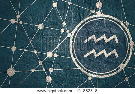 Zodiac symbol in circle. Concrete grunge texture. Molecule And Communication Background. Connected lines with dots. Modern brochure, report or cover design template. Sign of the Water Bearer